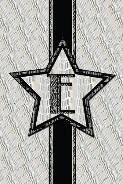 Digital Art - Star Of The Show Art Deco Style Letter E by Cecely Bloom