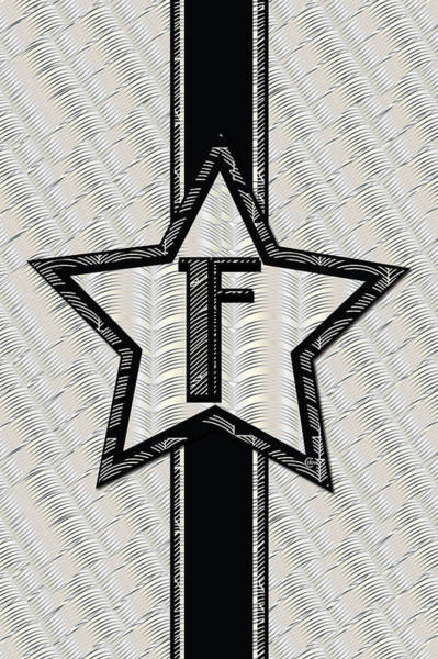 Digital Art - Star Of The Show Art Deco Style Letter F by Cecely Bloom