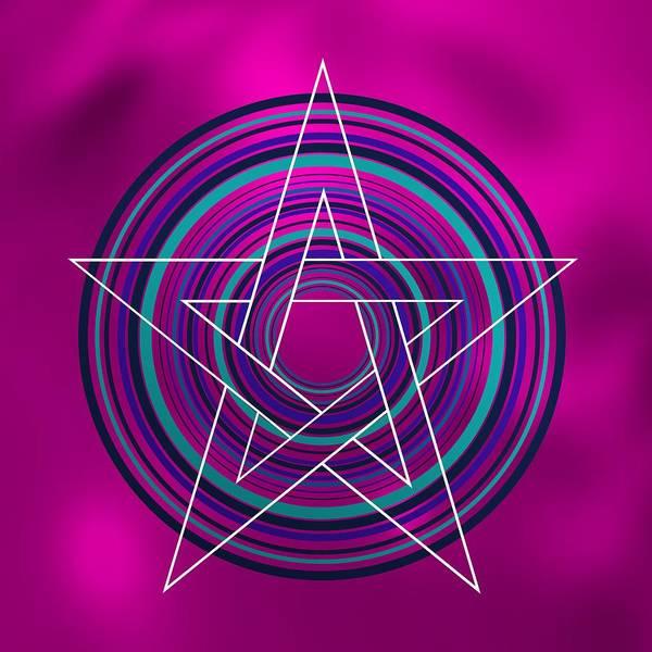 Digital Art - Star Over Blue Circles by Alberto RuiZ