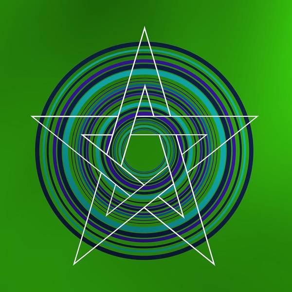 Digital Art - Star Over Green Background by Alberto RuiZ