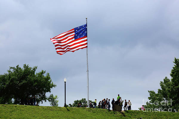 Photograph - Star Spangled Banner Flag Flying Over Federal Hill Baltimore by James Brunker