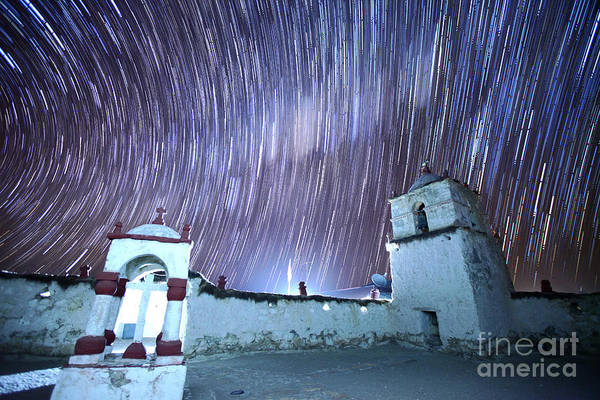 Photograph - Star Trails Above Parinacota Village Church Chile by James Brunker