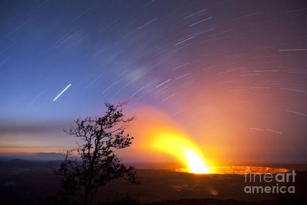 Photograph - Star Trails Over Halema'uma'u Crater by Charmian Vistaunet