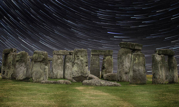 English Countryside Photograph - Star Trails Stonehenge by Martin Newman