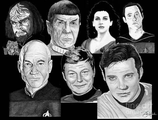 Drawing - Star Trek Crew by Bill Richards