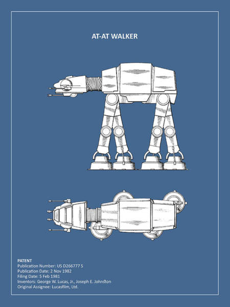 Star Wars Wall Art - Photograph - Star Wars - At-at Patent by Mark Rogan