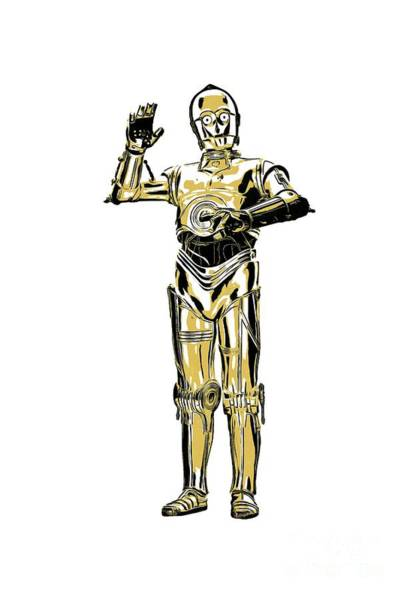 Gold Painting - Star Wars C-3po Droid Tee by Edward Fielding