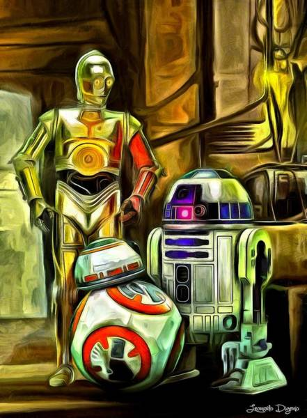 Star Wars Wall Art - Painting - Star Wars Droid Family by Leonardo Digenio