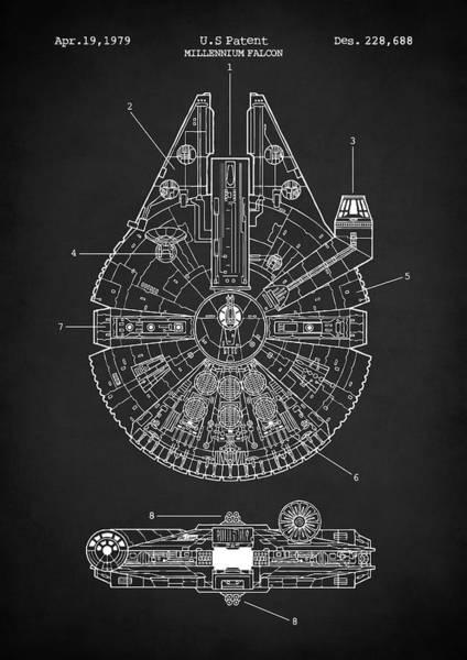Wall Art - Digital Art - Star Wars Millennium Falcon Patent by Zapista Zapista