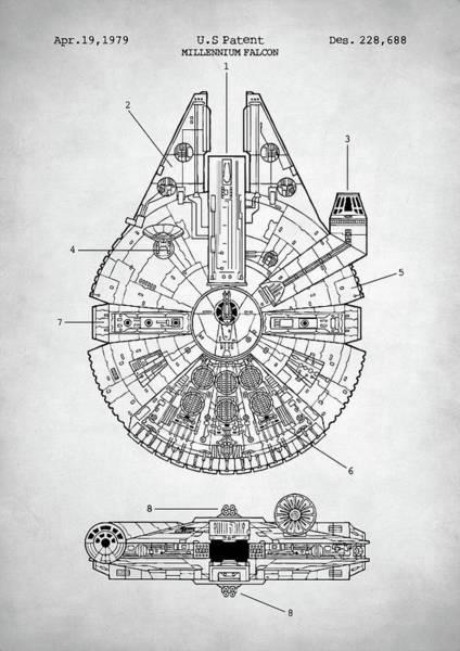 Schematic Wall Art - Digital Art - Star Wars Millennium Falcon Patent by Zapista Zapista