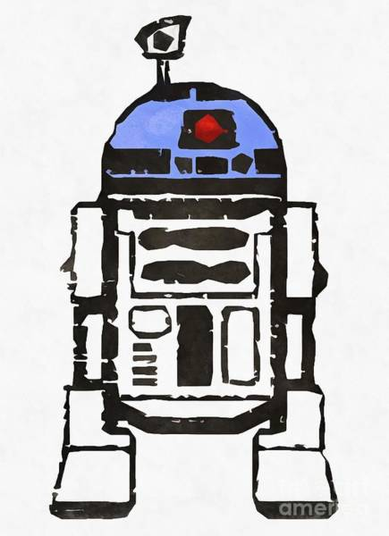Wall Art - Painting - Star Wars R2d2 Droid Robot by Edward Fielding