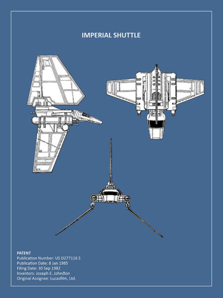 Star Wars Wall Art - Photograph - Star Wars - Shuttle Patent by Mark Rogan
