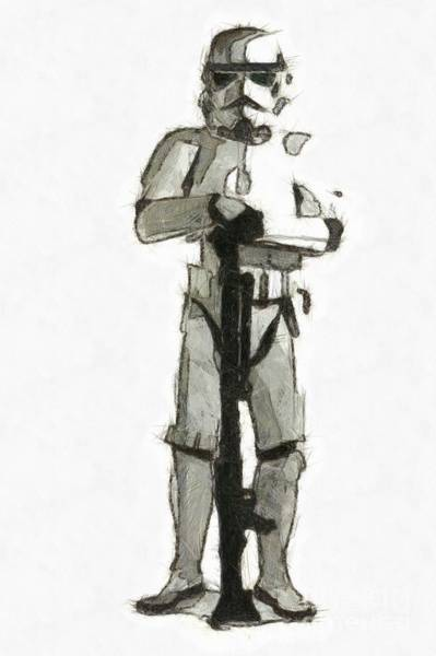 Wall Art - Drawing - Star Wars Storm Trooper Pencil Drawing by Edward Fielding