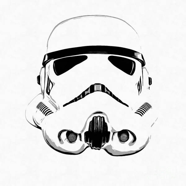 Star Wars Wall Art - Digital Art - Star Wars Stormtrooper Helmet Graphic Drawing by Edward Fielding