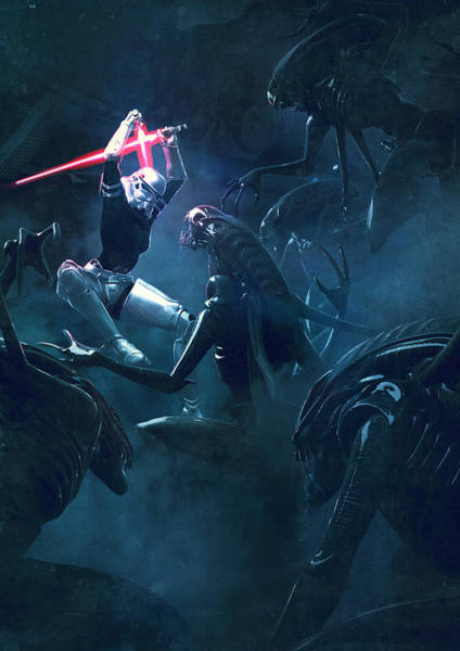 Wall Art - Digital Art - Star Wars Vs Aliens 3 by Exar Kun