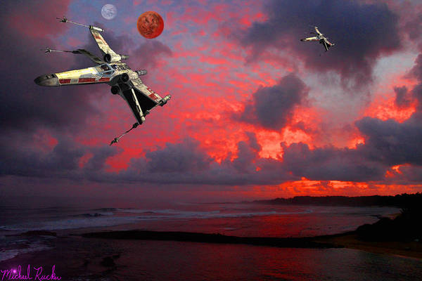 Wall Art - Digital Art - Star Wars X-wing Fighter by Michael Rucker