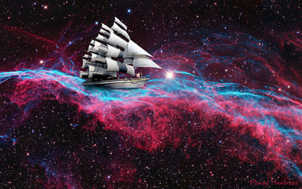 Space Mixed Media - Starboat Sailing On A Nebula Tide Through A Sea Of Galaxy by Mindy Huntress