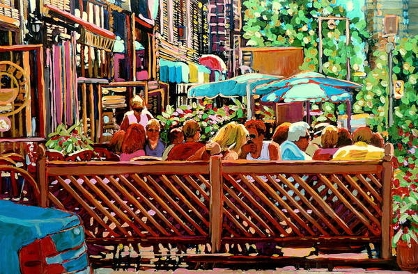 Luncheonettes Painting - Starbucks Cafe On Monkland Montreal Cityscene by Carole Spandau