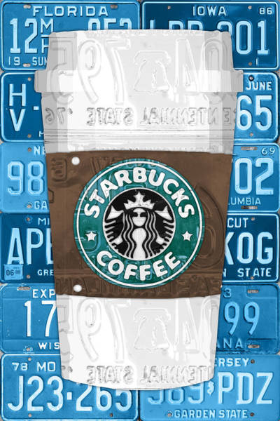 Coffee Wall Art - Mixed Media - Starbucks Coffee Cup Recycled Vintage License Plate Pop Art by Design Turnpike