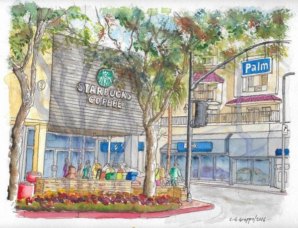 Coffee Painting - Starbucks Coffee In San Fernando Rd And Palms, Burbank, California by Carlos G Groppa