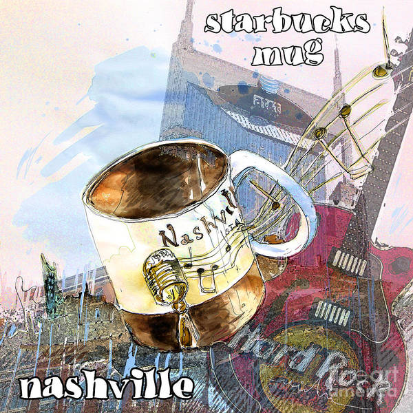 Painting - Starbucks Mug Nashville by Miki De Goodaboom