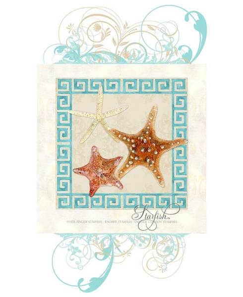 Wall Art - Painting - Starfish Greek Key Pattern W Swirls by Audrey Jeanne Roberts