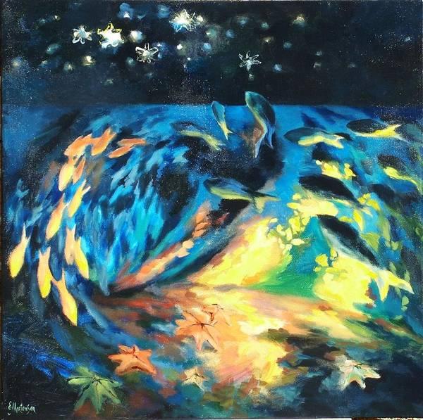 Wall Art - Painting - Starfish Night by Ekaterina Mortensen