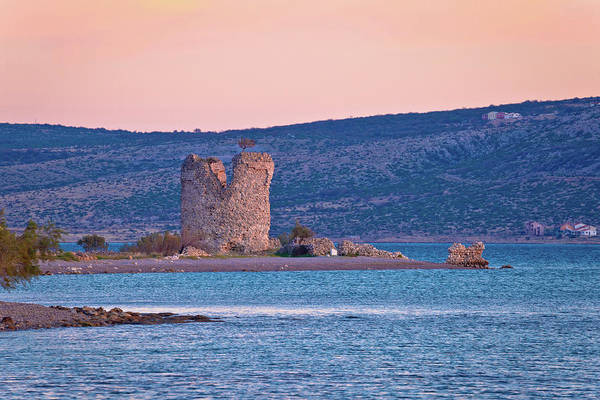 Starigrad Photograph - Starigrad Paklenica Tower Ruins By The Sea by Brch Photography