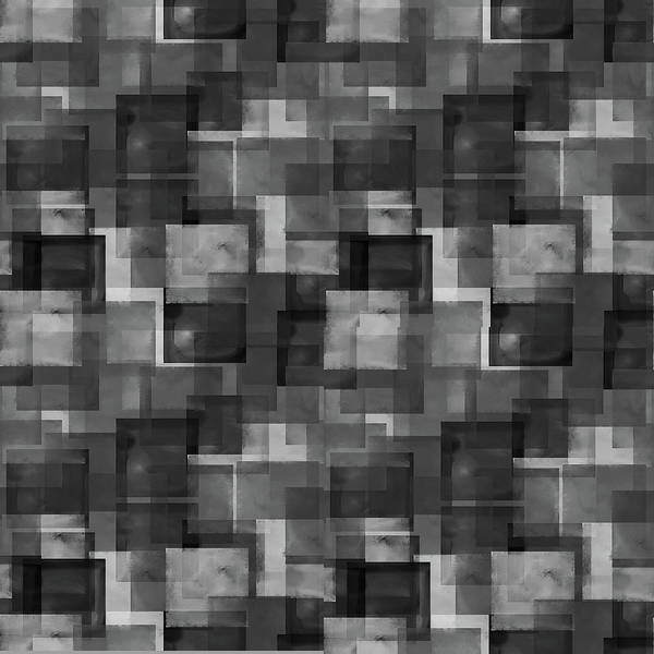 Digital Art - Stark Black Squares Abstract Pattern by April Burton