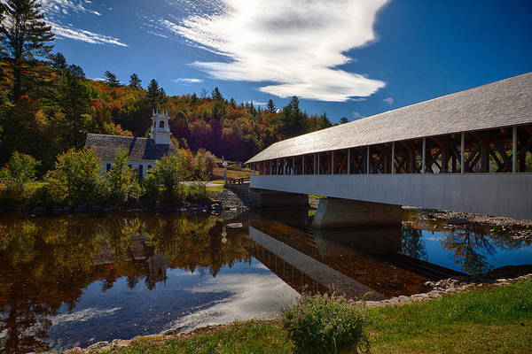 Photograph - Stark Covered Bridge And Church by Jeff Folger