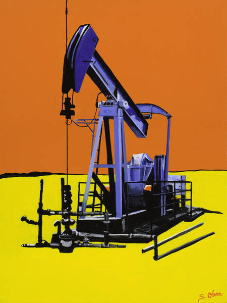 Oil Industry Painting - Stark Reality - Blue by Sonja Olson