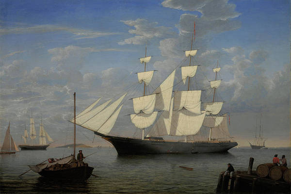 Painting - Starlight In Harbor By Fitz Henry Lane 1855 by Fitz Henry Lane
