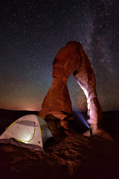Delicate Arch Wall Art - Photograph - Starlight Tent Camping At Delicate Arch by Mike Berenson