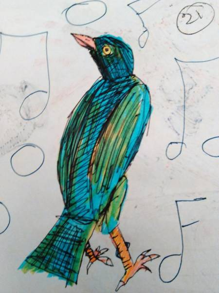 Starlings Drawing - Starling My Darling by Andrew Blitman