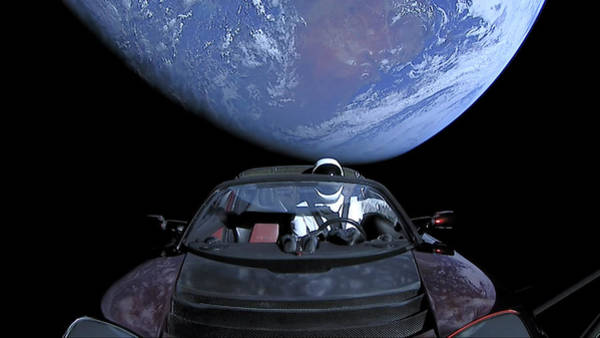 Starman Painting - Starman In Tesla Roadster With Planet Earth Traveling In The Space And The East Coast Of Australia I by Celestial Images