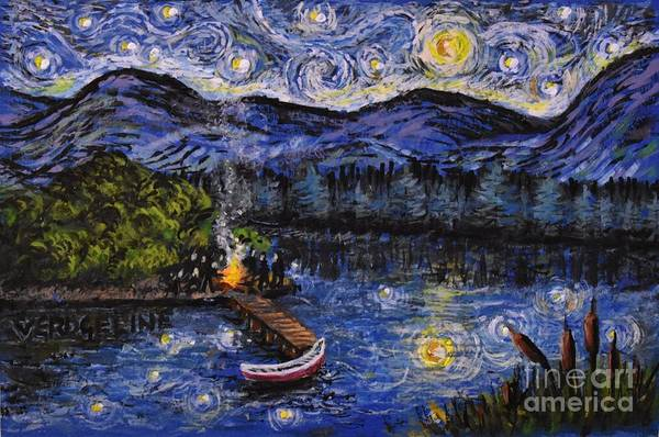 Painting - Starry Lake by Christina Verdgeline