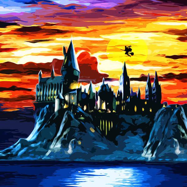 Night Time Drawing - Starry Night Hogwarts by Silvia Veronika