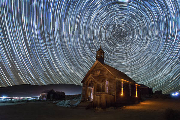 Bodie Ghost Town Wall Art - Photograph - Starry Night Over Bodie Church by Jeff Sullivan