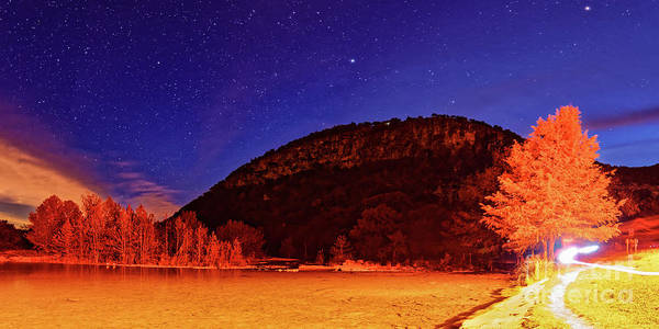 Photograph - Starry Night Over Old Baldy And The Frio River At Garner State Park - Concan Texas Hill Country by Silvio Ligutti