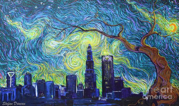 Starry Night Over The Queen City Art Print
