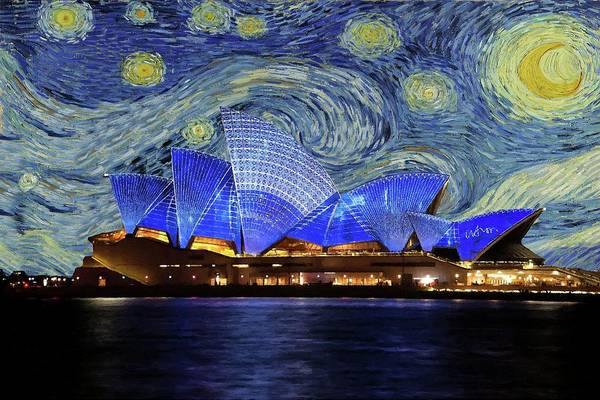 Painting - Starry Night Sydney Opera House by Movie Poster Prints