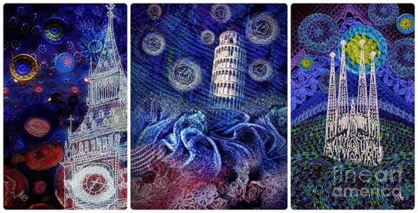 Impression Mixed Media - Starry Night Worldwide Triptych by Mo T