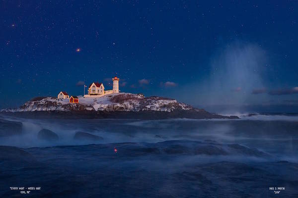 Starry Nubble Lighthouse Art Print