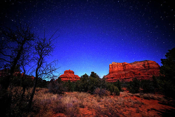 Photograph - Starry Sky Over Bell Rock In Sedona Az Arizona by Toby McGuire