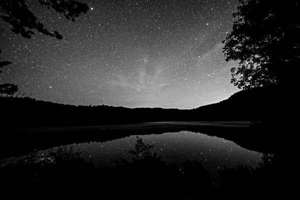 Photograph - Starry Sky Over Heart Lake Adirondack Log Adirondacks North Elba Ny Black And White by Toby McGuire