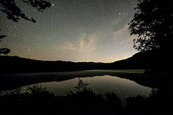 Photograph - Starry Sky Over Heart Lake Adirondack Log Adirondacks North Elba Ny by Toby McGuire