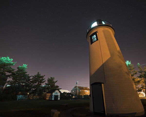 Photograph - Starry Sky Over The Newburyport Harbor Light Window by Toby McGuire