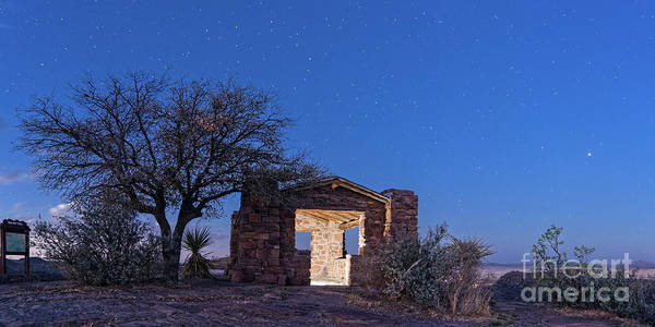 Photograph - Starry Twilight Of Ccc Stone Cabin At Davis Mountains State Park - Fort Davis West Texas by Silvio Ligutti