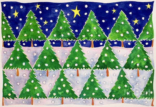 Winter Fun Painting - Stars And Snow by Cathy Baxter