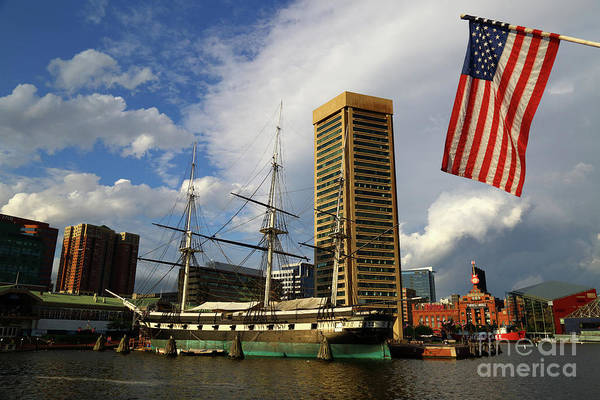 Photograph - Stars And Stripes And Inner Harbor Baltimore by James Brunker